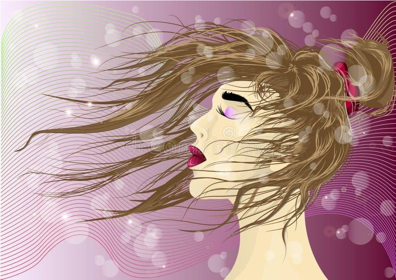 Meisje met haar in de wind Het meisje met haar het spelen in de wind royalty-vrije illustratie