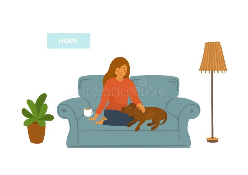 Meisje met haar slaaphond op bank thuis scène vector illustratie