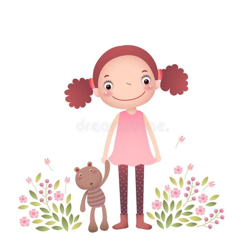 Meisje met haar teddybeer royalty-vrije illustratie