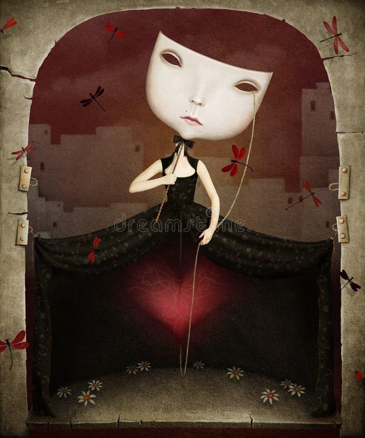 Meisje met hart stock illustratie