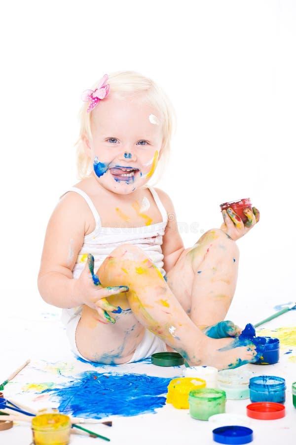 meisje met heldere kleuren stock afbeeldingen