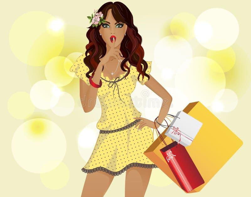 Meisje met het gele kleding winkelen. De achtergrond is geel. stock illustratie