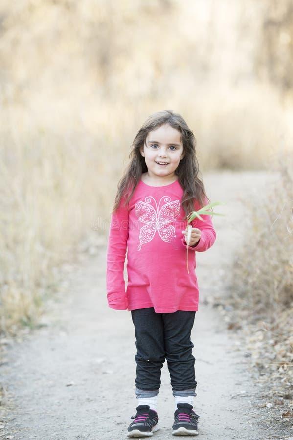Meisje met het Lange Haar Spelen buiten in een Natuurlijke Environm stock foto's
