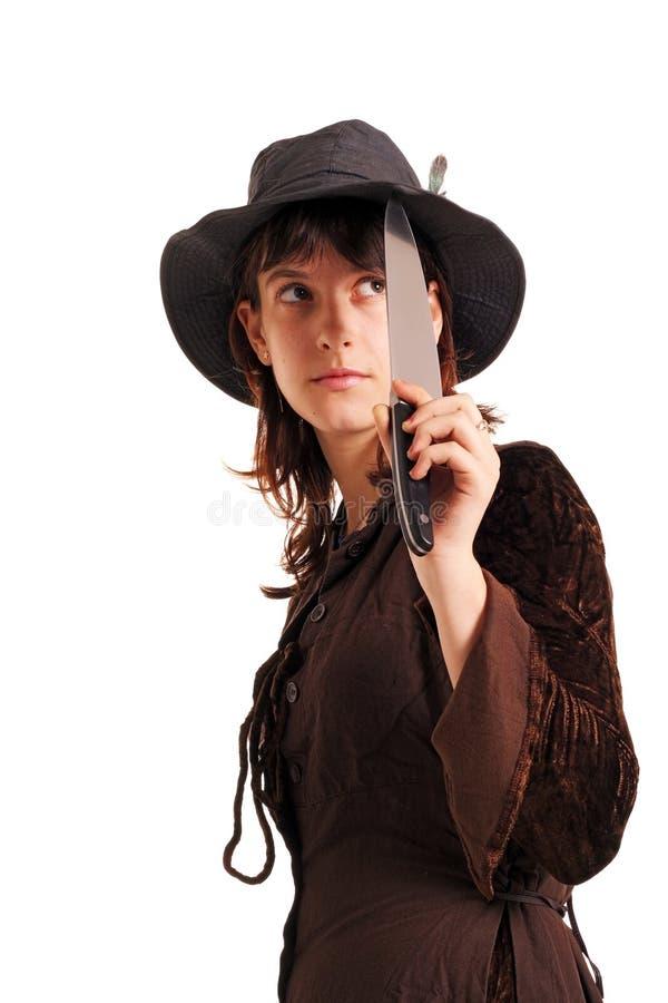 Meisje met het mes royalty-vrije stock foto
