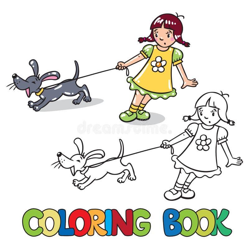 Meisje met het ontschorsen van hond Kleurend boek stock illustratie
