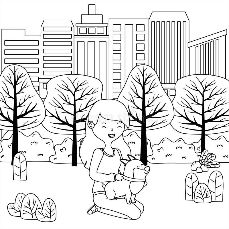 Meisje met het ontwerp van het hondbeeldverhaal stock illustratie