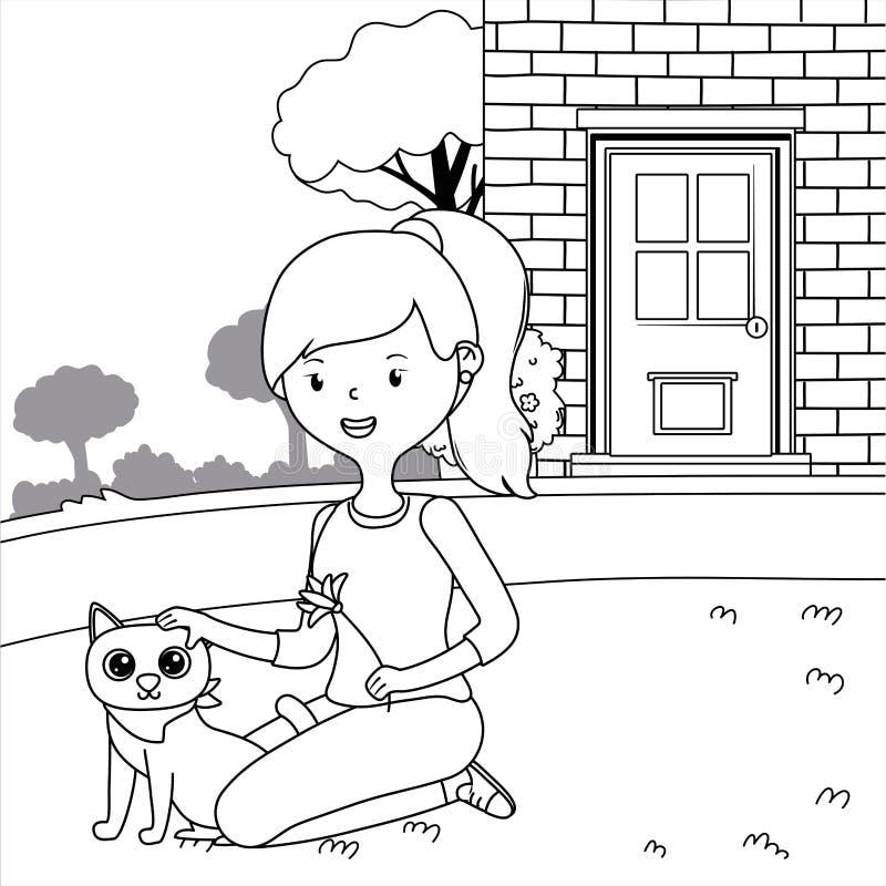 Meisje met het ontwerp van het kattenbeeldverhaal royalty-vrije illustratie