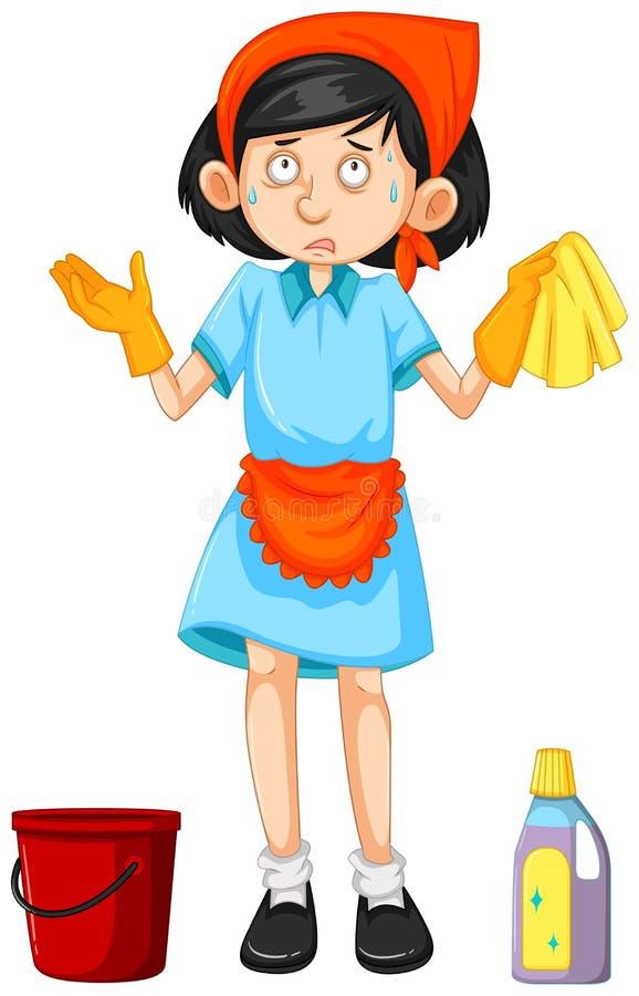 Meisje met het schoonmaken van hulpmiddelen stock illustratie