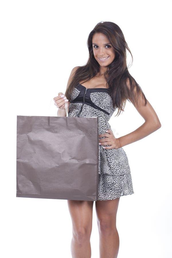 Meisje met het winkelen zak royalty-vrije stock foto