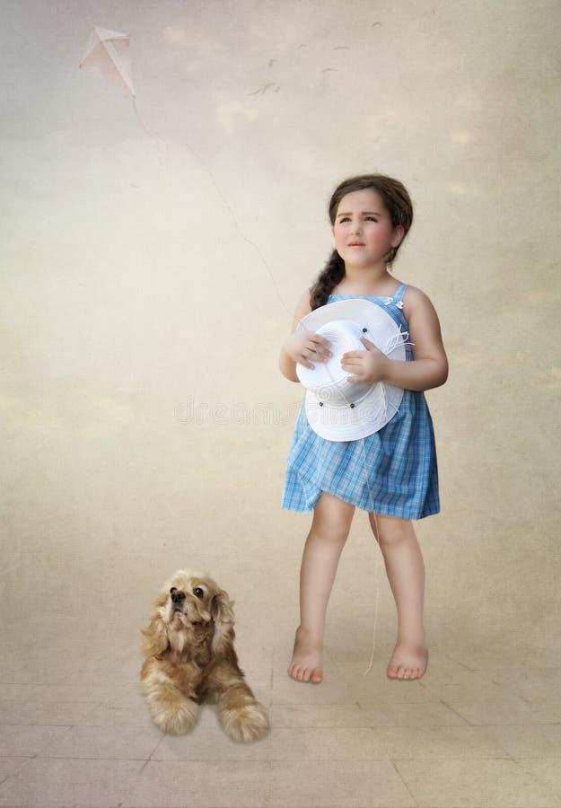 Meisje met hond en vlieger stock afbeeldingen