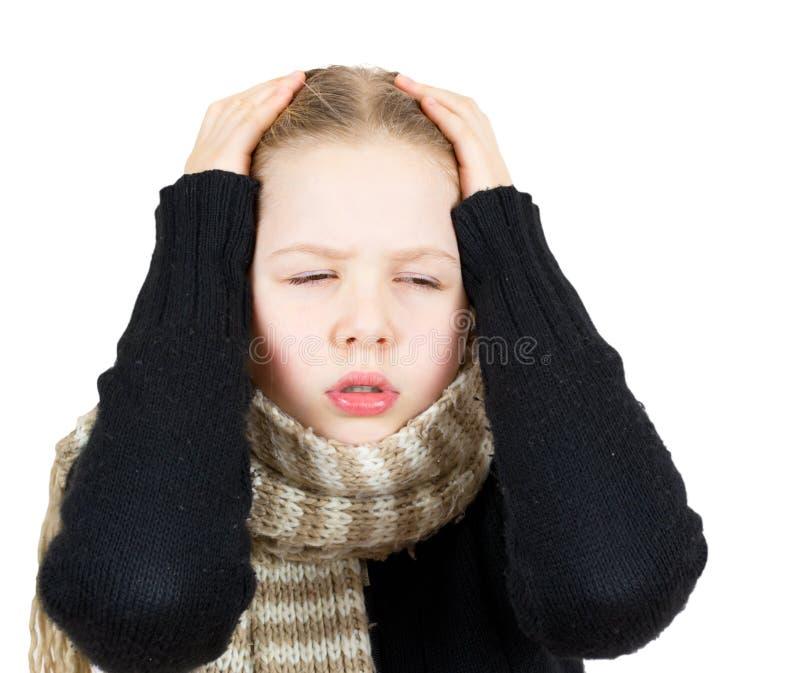 Meisje met hoofdpijn die op wit wordt geïsoleerdi stock afbeeldingen