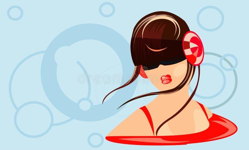 Meisje met hoofdtelefoons royalty-vrije illustratie