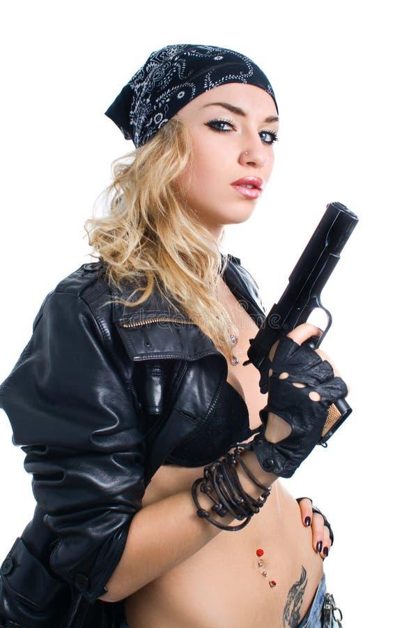Meisje met kanon stock afbeeldingen