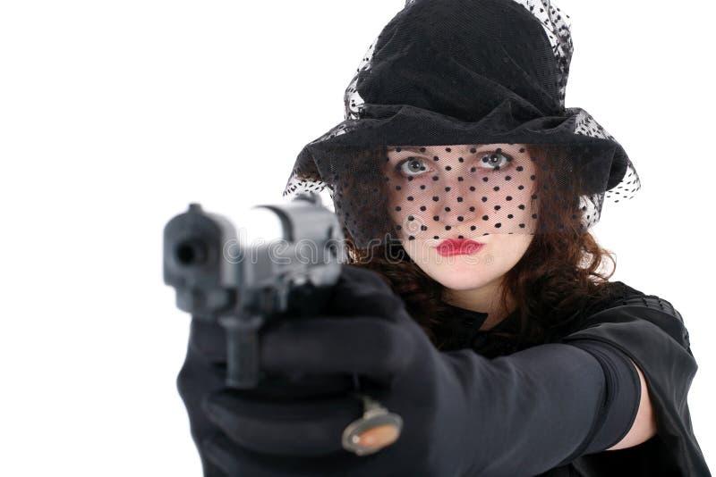 Meisje met kanon royalty-vrije stock fotografie