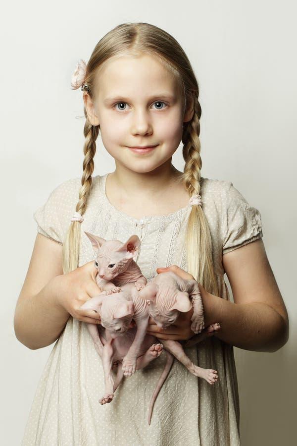 Meisje met katjes, leuke kind en babydieren stock foto