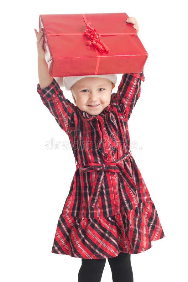 Meisje met Kerstmisgift stock foto