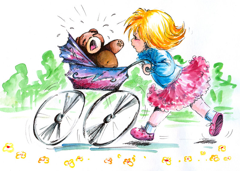 Meisje met kinderwagen stock illustratie