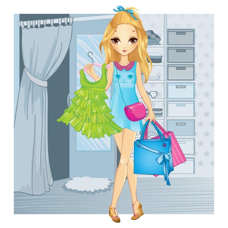 Meisje met Kleren en het Winkelen Zakken stock illustratie