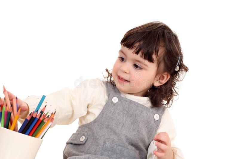 Meisje met kleurpotloden royalty-vrije stock foto
