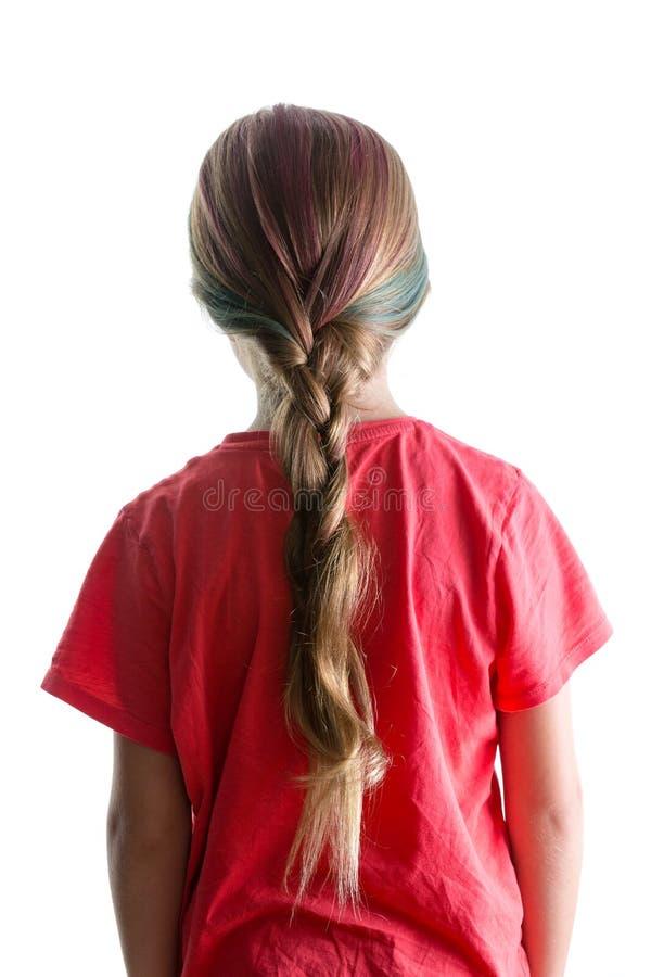 Meisje met kleurrijk die haar in een vlecht wordt gedaan royalty-vrije stock afbeelding