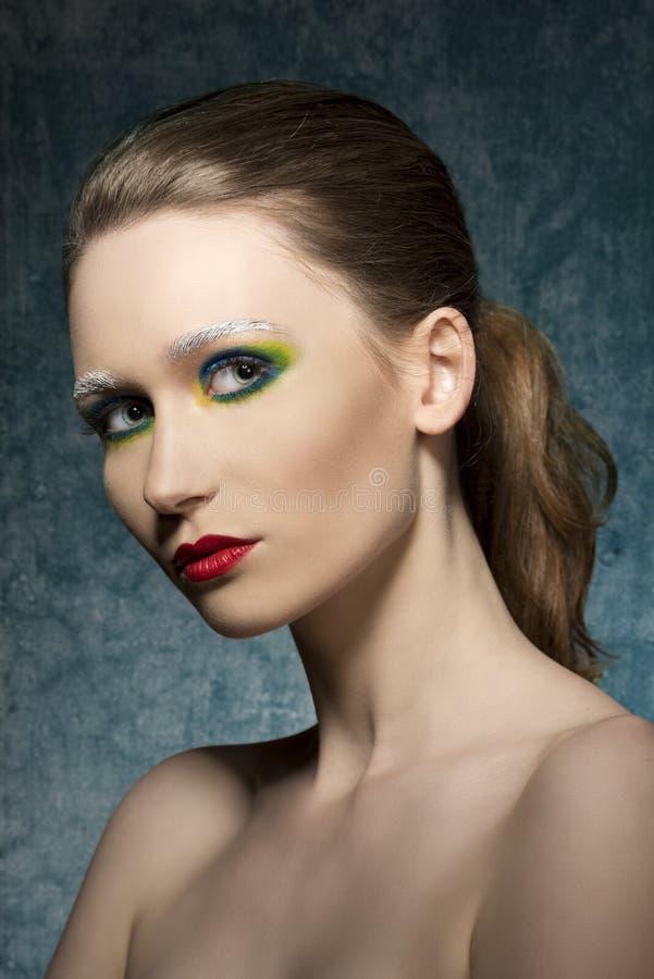 Meisje met kleurrijke samenstelling stock afbeeldingen