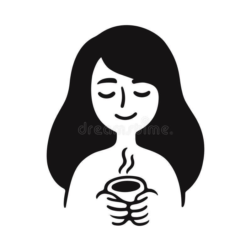 Meisje met kop thee stock illustratie