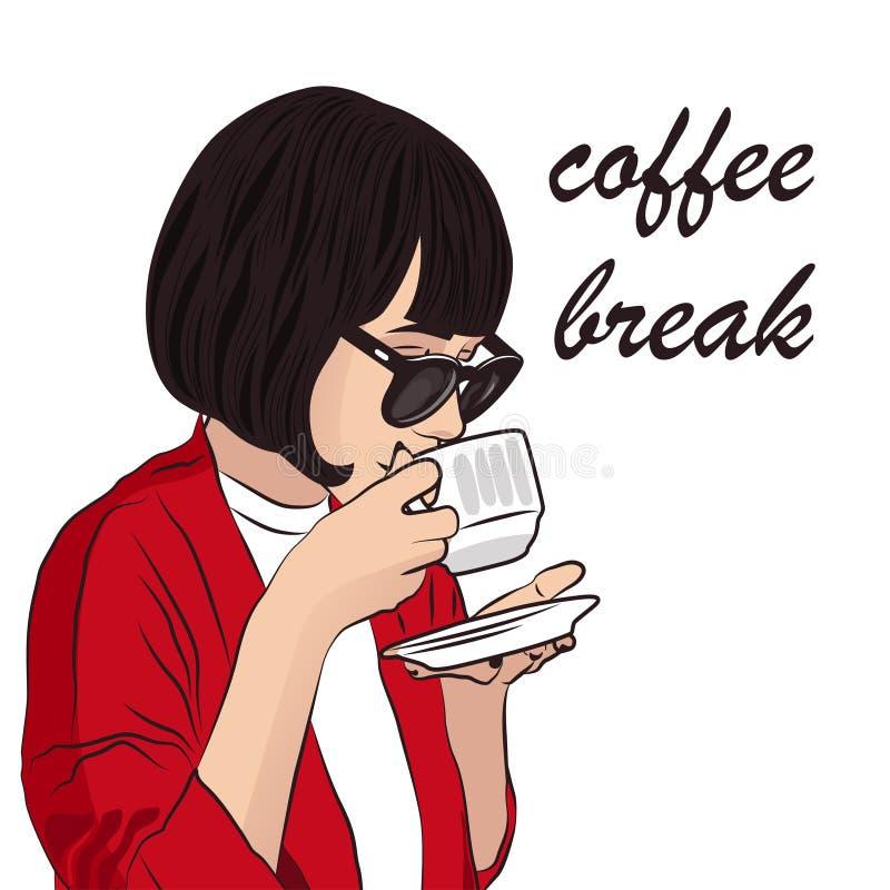 Meisje met kop van koffie Zoete croissant en een kop van koffie op de achtergrond stock afbeelding