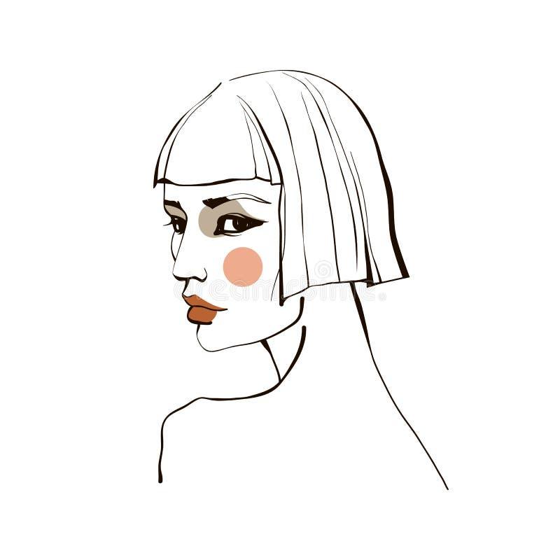 Meisje met kort haar vector illustratie