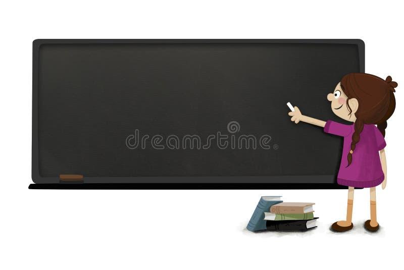 Meisje met krijt het in hand schrijven op een bord vector illustratie