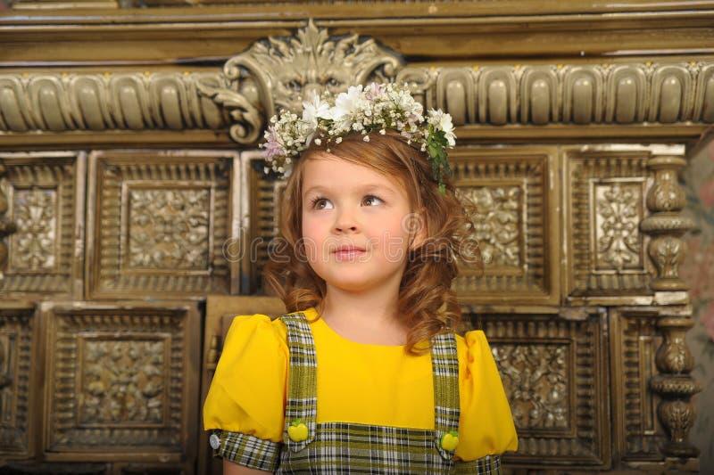 MEISJE MET kronen van bloemen op het hoofd royalty-vrije stock foto
