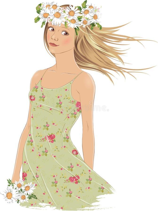 Meisje met kroon van madeliefjes stock illustratie