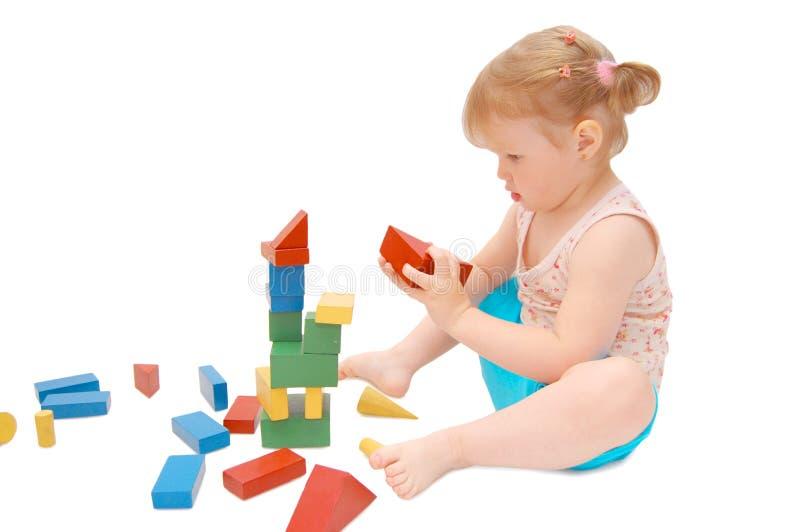 Meisje met kubussen royalty-vrije stock afbeeldingen