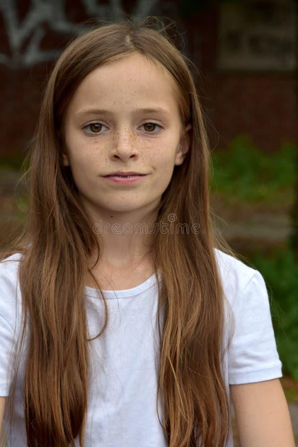 Meisje met lang bruin haar stock fotografie