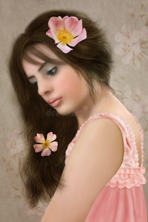 Meisje met lang haar stock foto's