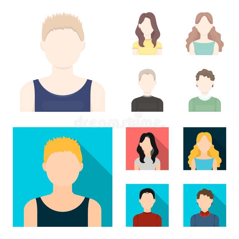 Meisje met lang haar, blonde, krullende, grijs-haired mens Avatar vastgestelde inzamelingspictogrammen in beeldverhaal, de vlakke vector illustratie