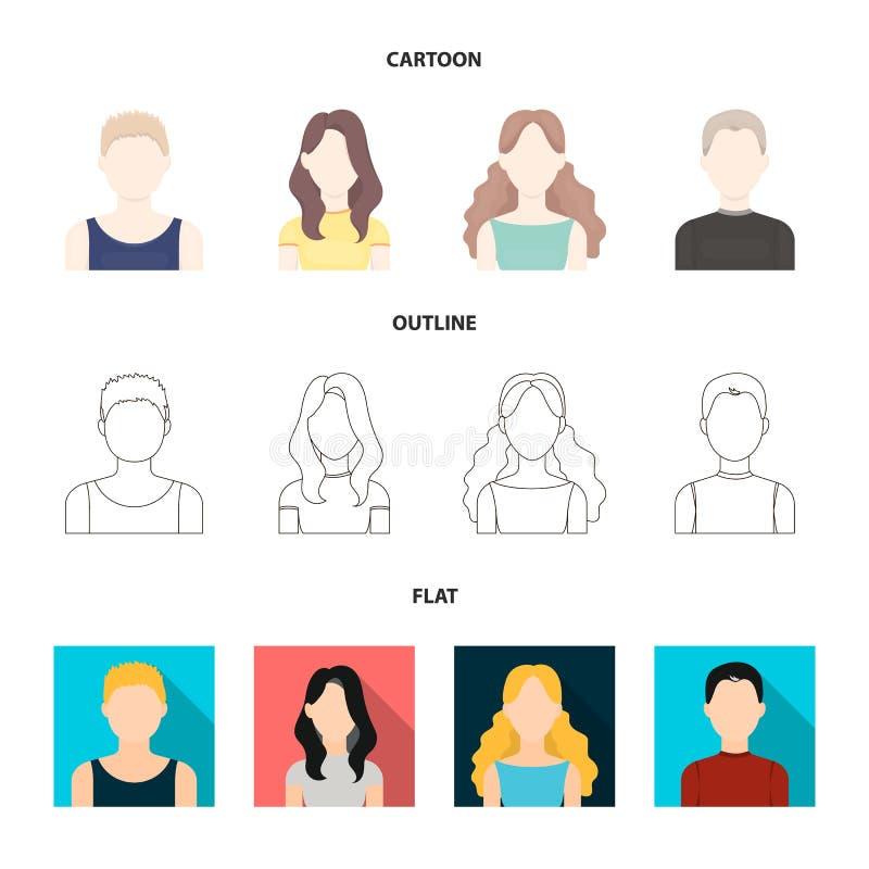 Meisje met lang haar, blonde, krullende, grijs-haired mens Avatar vastgestelde inzamelingspictogrammen in beeldverhaal, overzicht vector illustratie