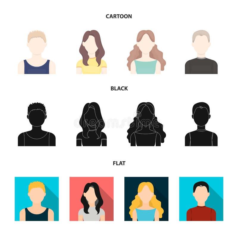 Meisje met lang haar, blonde, krullende, grijs-haired mens Avatar vastgestelde inzamelingspictogrammen in beeldverhaal, zwart, vl vector illustratie