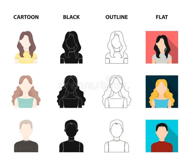 Meisje met lang haar, blonde, krullende, grijs-haired mens Avatar vastgestelde inzamelingspictogrammen in beeldverhaal, zwarte, o royalty-vrije illustratie