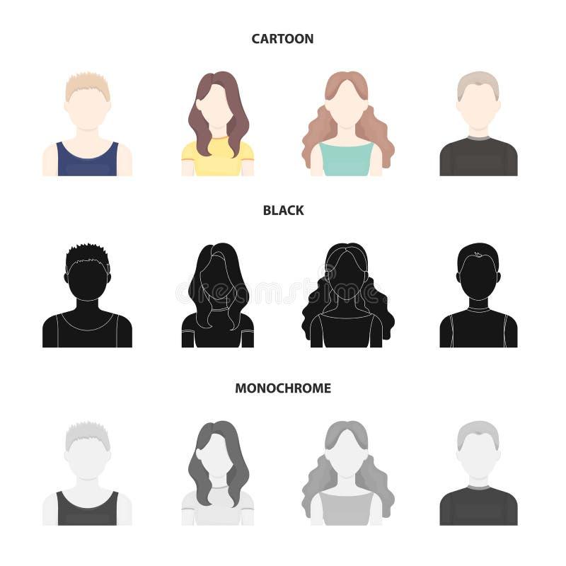 Meisje met lang haar, blonde, krullende, grijs-haired mens Avatar vastgestelde inzamelingspictogrammen in beeldverhaal, zwarte, z stock illustratie