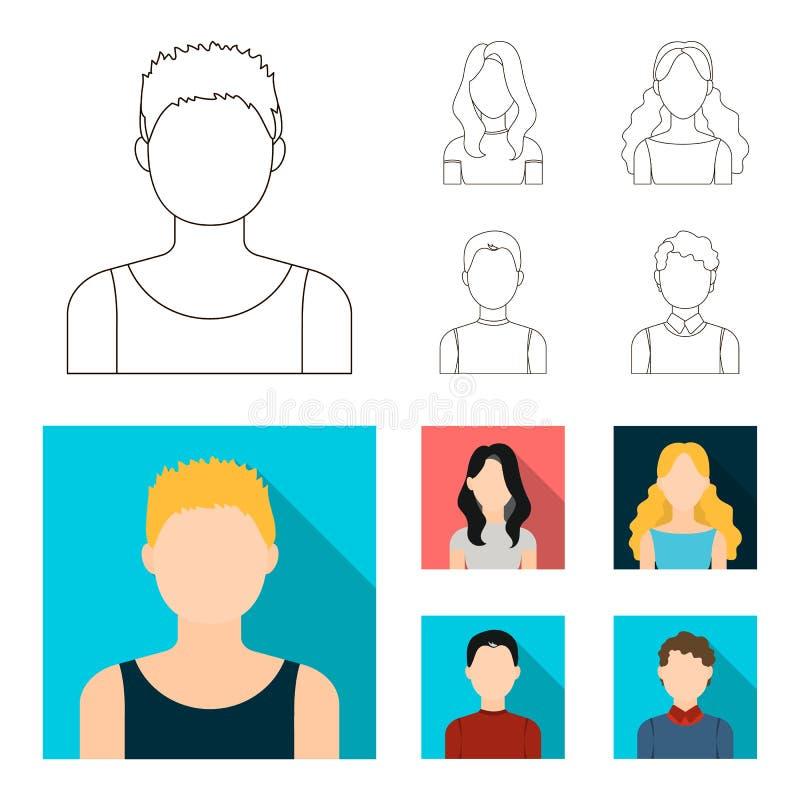 Meisje met lang haar, blonde, krullende, grijs-haired mens Avatar vastgestelde inzamelingspictogrammen in overzicht, de vlakke vo vector illustratie