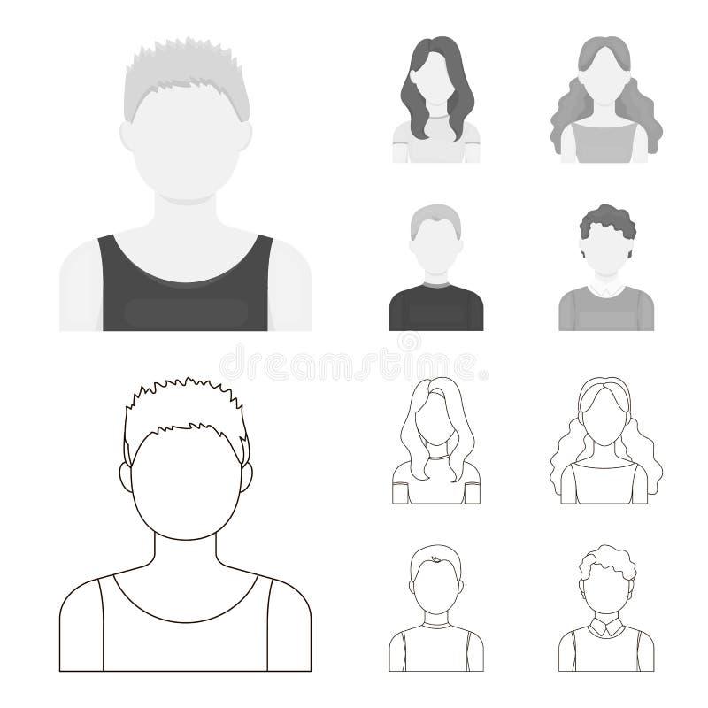 Meisje met lang haar, blonde, krullende, grijs-haired mens Avatar vastgestelde inzamelingspictogrammen in overzicht, zwart-wit st vector illustratie