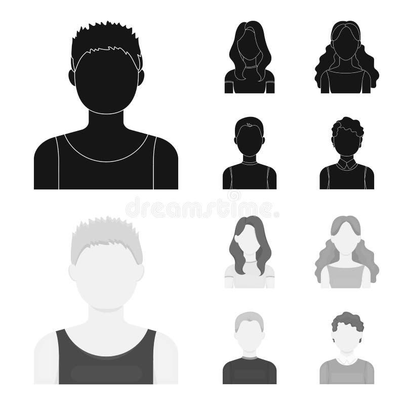 Meisje met lang haar, blonde, krullende, grijs-haired mens Avatar vastgestelde inzamelingspictogrammen in zwart, zwart-wit stijl  stock illustratie