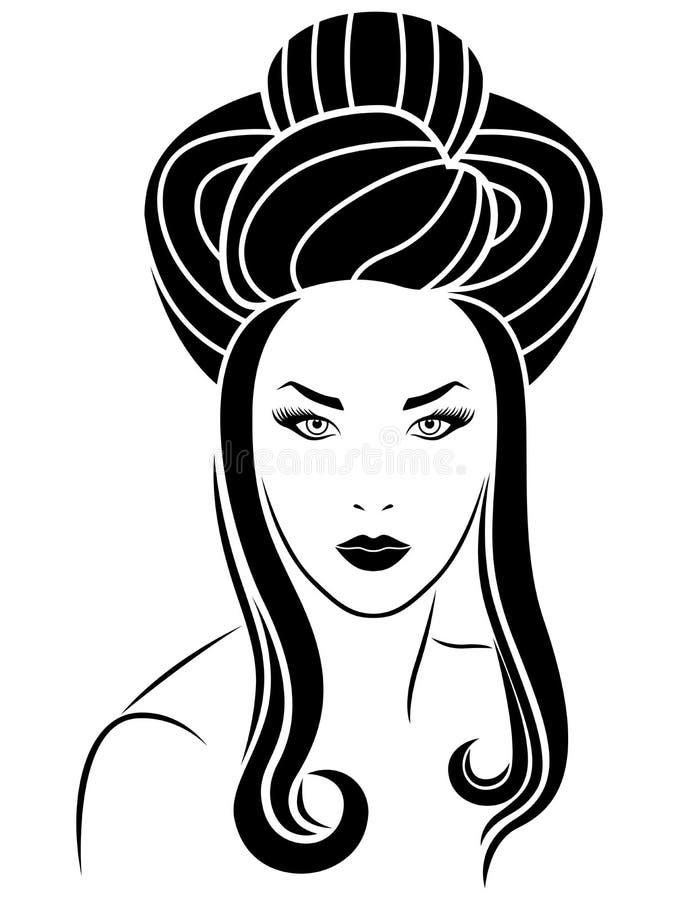 Meisje met lange haarkrullen stock illustratie