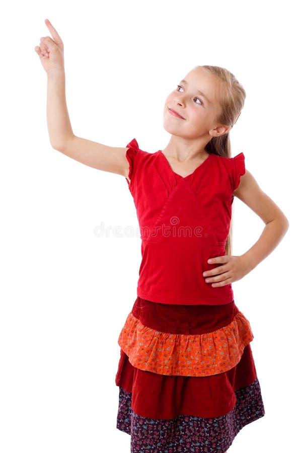 Meisje met lege het richten hand stock afbeeldingen