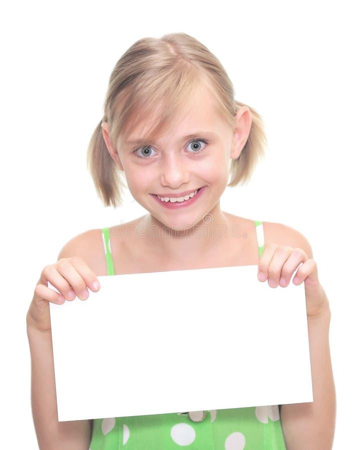 Meisje met lege nota over wit royalty-vrije stock afbeeldingen