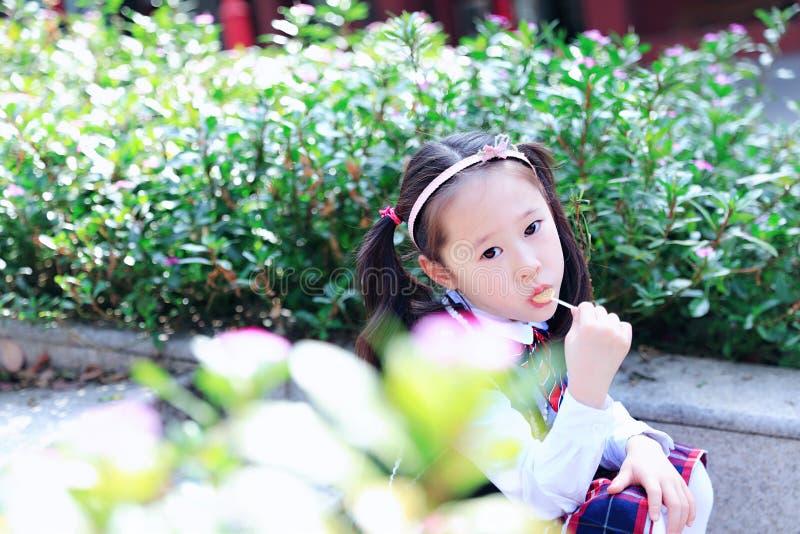Meisje met lolly Leuke Aziaat weinig mooi meisjesspel bij de herfst in het stadspark royalty-vrije stock foto's