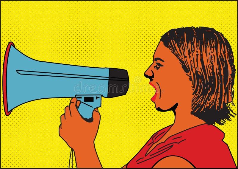 Meisje met luidspreker stock illustratie