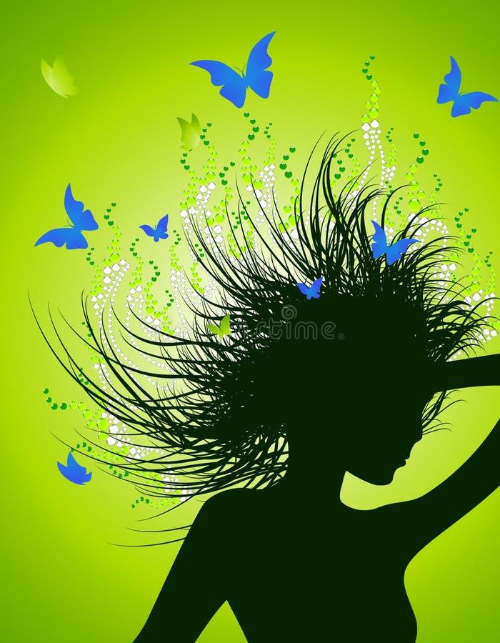 Meisje met magisch kapsel stock illustratie