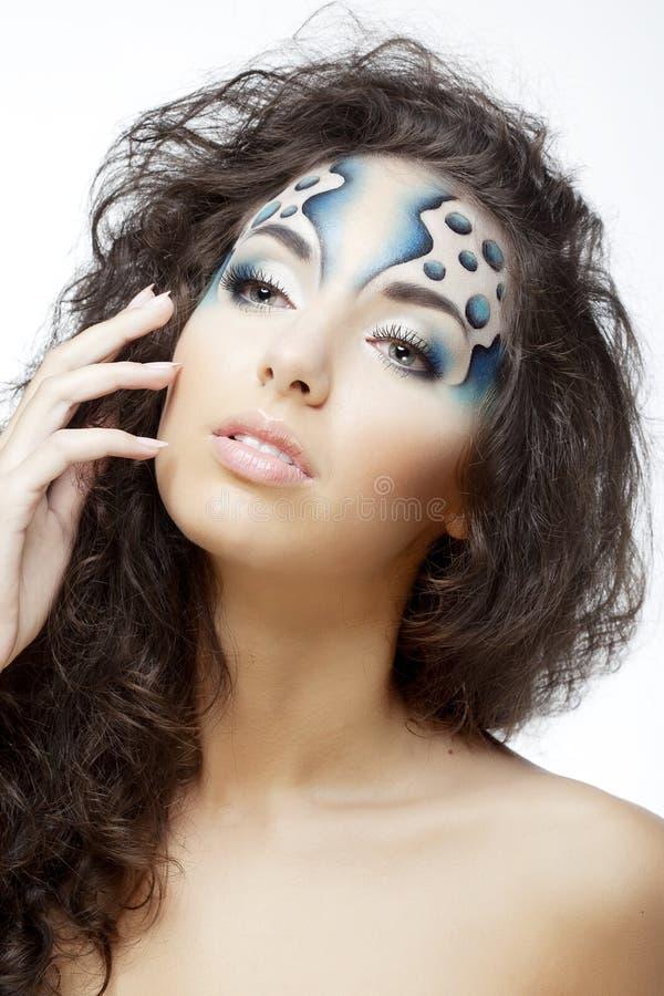 Meisje met make-up in de vorm van water en bellen royalty-vrije stock afbeelding