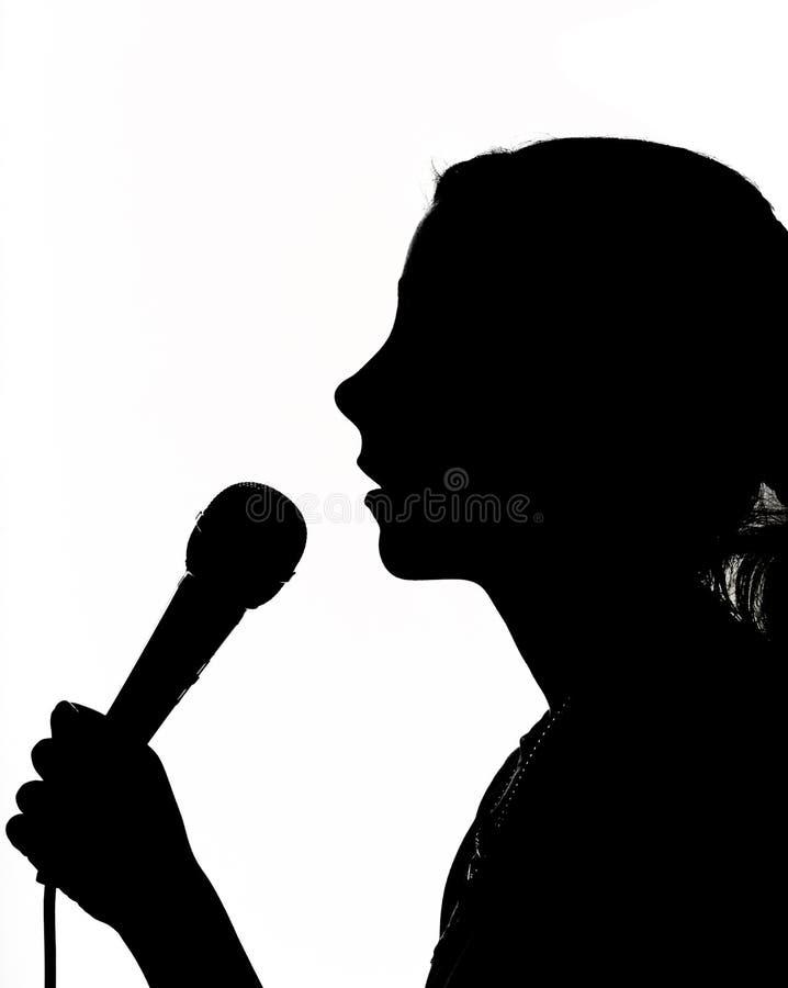 Meisje Met Microfoon Royalty-vrije Stock Afbeeldingen